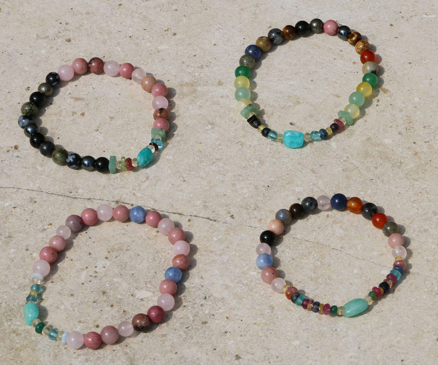 Bracelets with precious and semi-precious stones